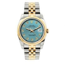Rolex Datejust Men's 36mm Iced Blue Dial Yellow Gold And...