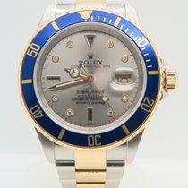 Rolex Submariner Date Gold Steel Serti Diamond Dial Ref 16613