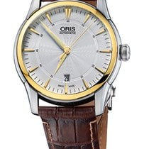Oris Artelier Date Gold Plated Brown Leather Bracelet