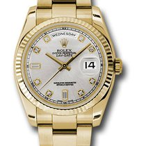 Rolex 118238 Day-Date President Yellow Gold Silver Diamonds Watch
