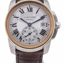 Cartier W2CA0002 Calibre 18k Rose Gold Silver Dial Men Leather...