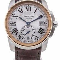 Cartier W2CA0002 Calibre 18k Rose Gold Silver Dial Men Leather...