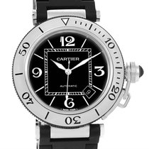 Cartier Pasha Seatimer Rubber Strap Stainless Steel Watch...