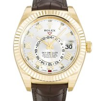 Rolex SKY-DWELLER YELLOW GOLD LEATHER
