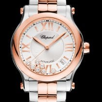 Chopard Happy Sport 36mm Automatic 18K Rose Gold Silver Dial RO