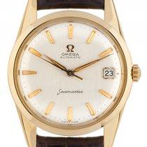 Omega Seamaster Date 18kt Gelbgold Automatik Armband Leder...