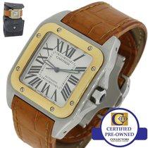 Cartier Santos 100 XL Two Tone 18k Gold Steel Automatic Roman W