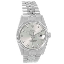 Rolex Datejust Steel White Gold Diamond Dial Unisex Watch 16234
