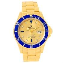 Rolex Submariner Yellow Gold Diamond Sapphire Serti Dial Watch...