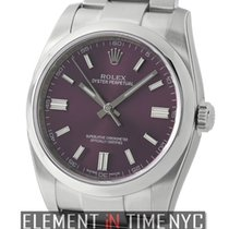 Rolex Oyster Perpetual 36mm Stainless Steel No-Date Red Grape...