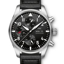 IWC IW377709 Pilots Chronograph in Steel - on Black Calfskin...