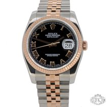 Rolex Datejust Steel and Rose Gold | 36mm Large Black Roman Dial