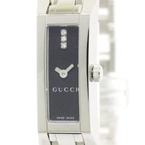Gucci G Link 110 Diamond Steel Quartz Ladies Watch Ya110514...