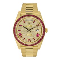 Rolex Day-Date 40mm 18KYellow Gold  Diamond Dial Ruby Bezel...
