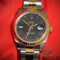 Rolex Datejust II 18k Yellow Gold/Steel Black Roman Dial Watch...
