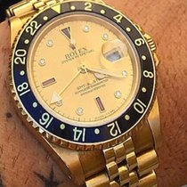 Rolex GMT MASTER 2 II Oro Gold Serti Sultan diamanti Diamonds