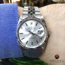 Rolex Datejust 16234 18k White Gold Bezel Polished Steel
