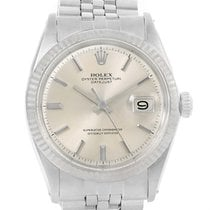 Rolex Datejust Vintage Silver Baton Dial Steel Mens Watch 1603