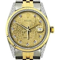 Rolex Datejust Men's 36mm Yellow Jubilee Dial Stainless...