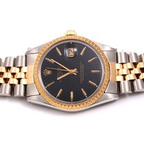 Rolex 15053 18K/SS Date Black Stick Dial  - Jubilee Band