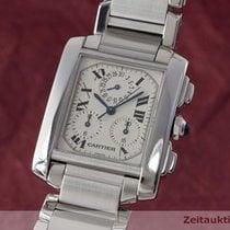 Cartier Tank Francaise Chronograph Stahl Herrenuhr 2303 Karrée