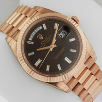 Rolex Day-Date President RG 40mm 228235 Chocolate Baguette Dial