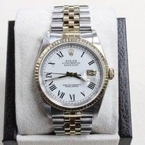 Rolex Datejust 16233 White Roman Numeral Dial 18k YG & Steel