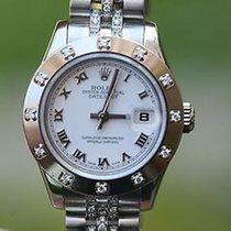 Rolex Ladies 26mm Stainless Steel Datejust 179174 12 Diamond...