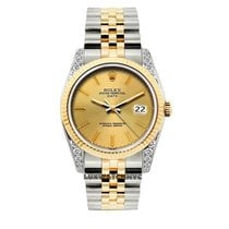 Rolex Date Unisex 34mm Champaigne Dial Gold And Stainless...