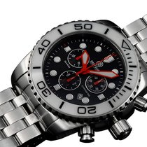 Deep Blue Sea Ram 500 Chrono Diving Watch Swiss Wht/blk Bez...