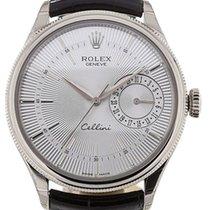 Rolex Cellini Date 50519-0006 Silver Guilloche Index White...