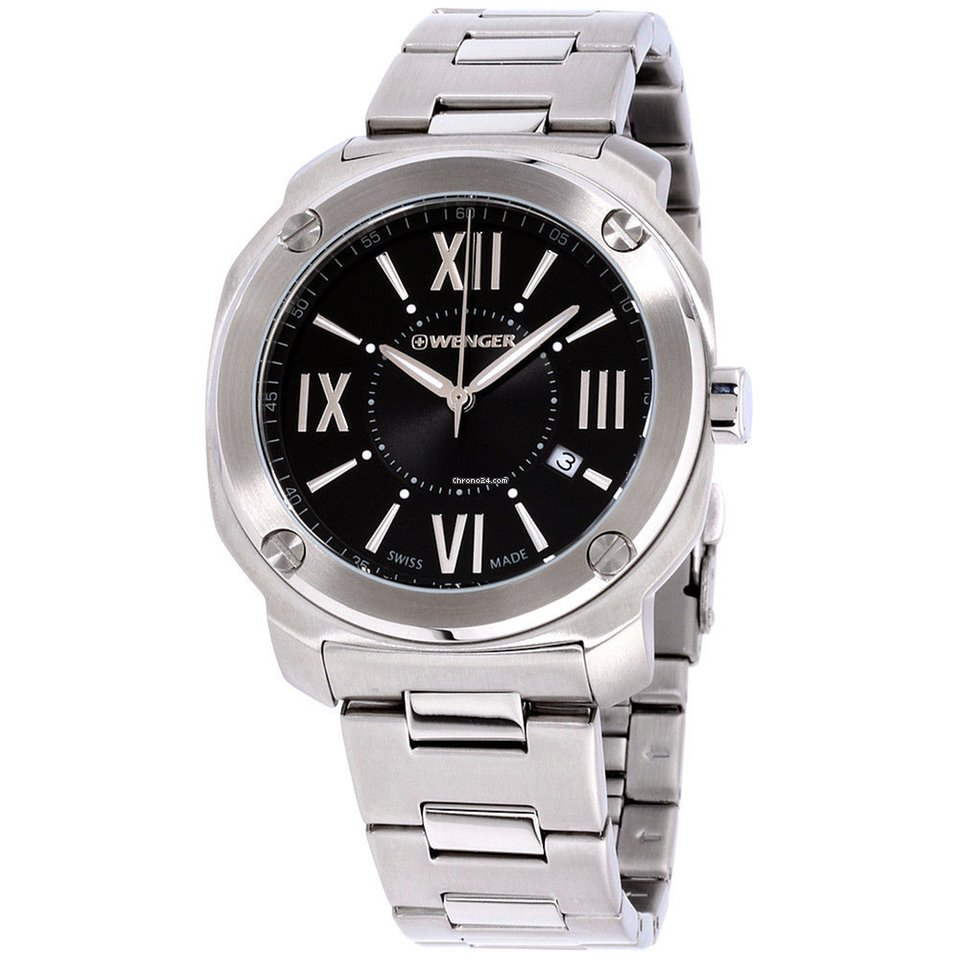 722572a806a Wenger Edge Romans Black Dial Stainless Steel Men s Watch... for ...