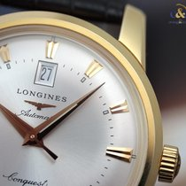 Longines Conquest Heritage 40mm Yellow Gold on Leather Silver...