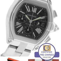 Cartier Roadster XL Auto Stainless Black Chronograph Watch 2618