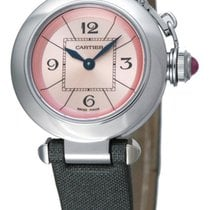 Cartier Miss Pasha Pink Dial Gray Satin Strap Quartz Women...