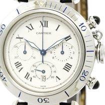 Cartier Polished Cartier Pasha 38 Chronograph Steel Quartz...