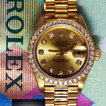 Rolex Datejust 18k Yellow Gold Factory Diamonds Ladies Watch...