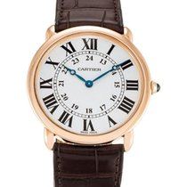 Cartier Ronde Louis 18KT RoseGold Leather Band Auto Men Watch...