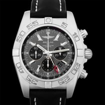 Breitling Chronomat GMT Black Dial Black Leather Men's Watch