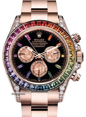 Rolex Oyster Daytona Rose Gold Rainbow Custom +btc