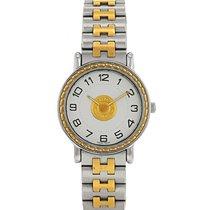 Hermès Sellier - wristwatch en plaqué or et acier Vers 1990