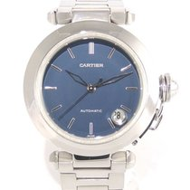 Cartier Pasha C 1031 blue dial with papers and service