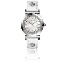 Versace Montre Vanity 35 mm Bracelet Cuir Blanc Cadran Blanc...