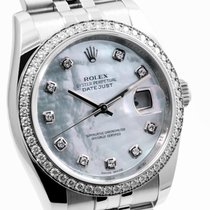 Rolex SS Datejust 116244 Factory MOP Diamond Dial & Bezel
