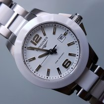 Longines Conquest White Ceramic Ladies