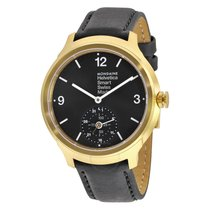 Mondaine Helvetica No 1 Bold Smart Black Dial Black Leather...