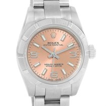 Rolex Nondate Ladies Salmon Dial Oyster Bracelet Watch 176210