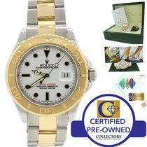 Rolex Yacht-Master 18k Gold Steel 40mm White Two Tone Watch