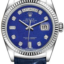Rolex Day-Date 36mm White Gold Fluted Bezel 118139 Lapis...
