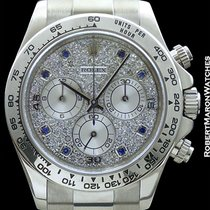 Rolex Daytona 116509 18k White Gold Pave Diamond Dial W/ Blue...